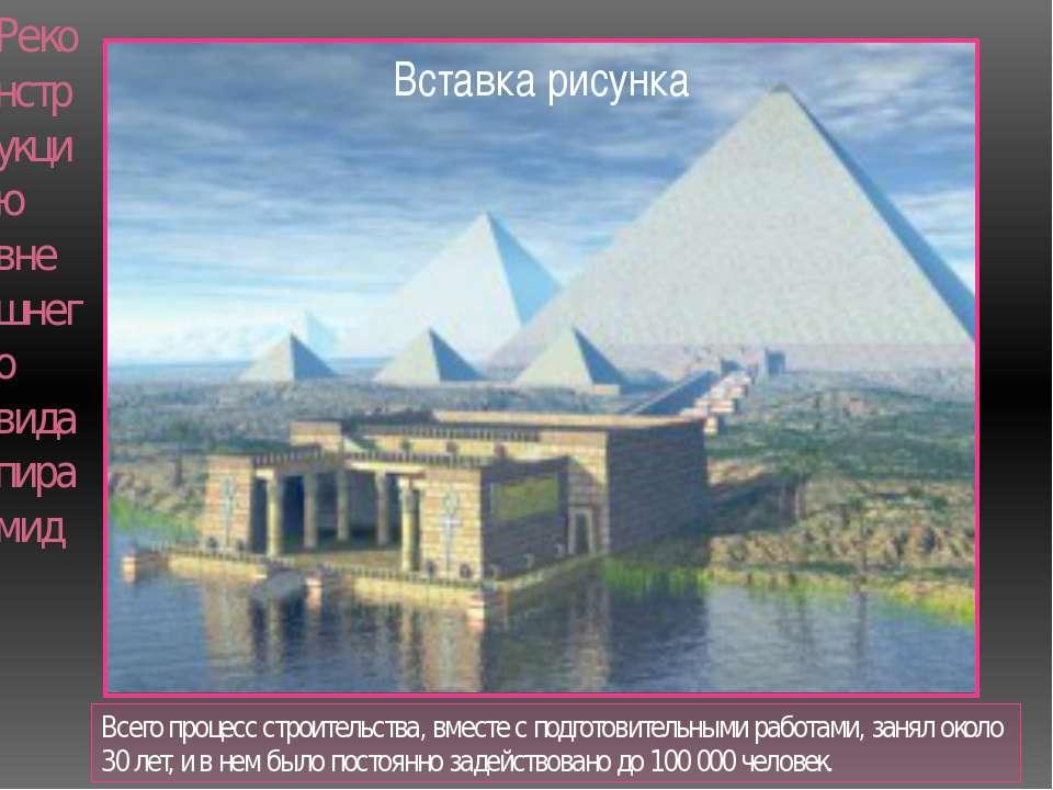 Реконструкцию внешнего вида пирамид Всего процесс строительства, вместе с под...