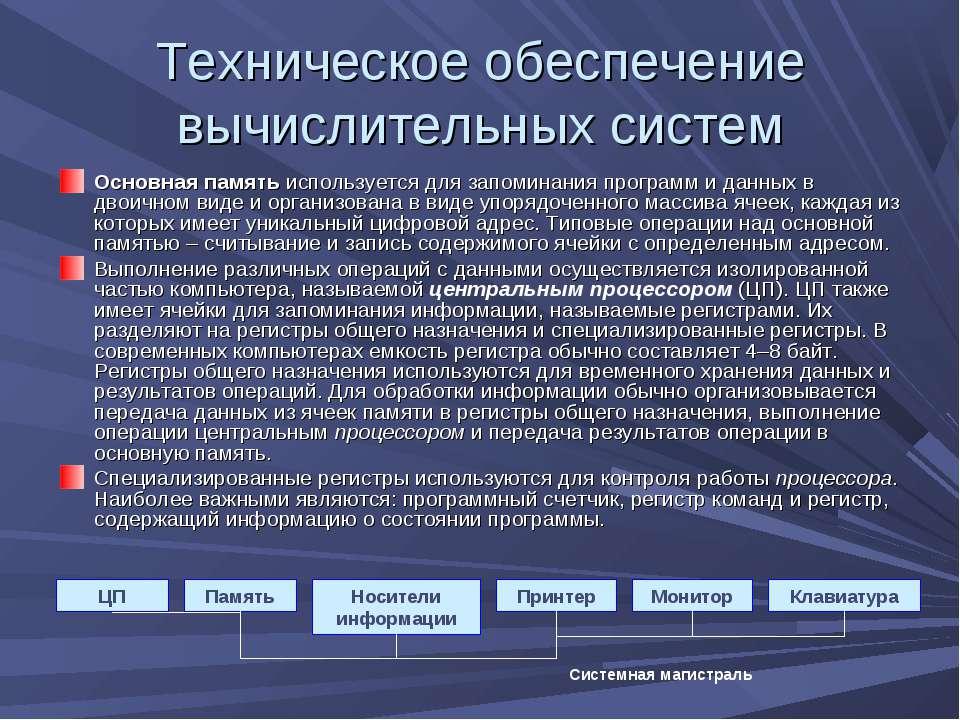 Техническое обеспечение вычислительных систем Основная память используется дл...