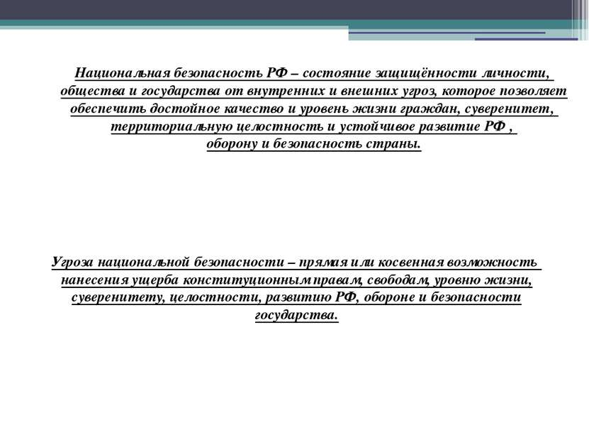 Национальная безопасность РФ – состояние защищённости личности, общества и го...