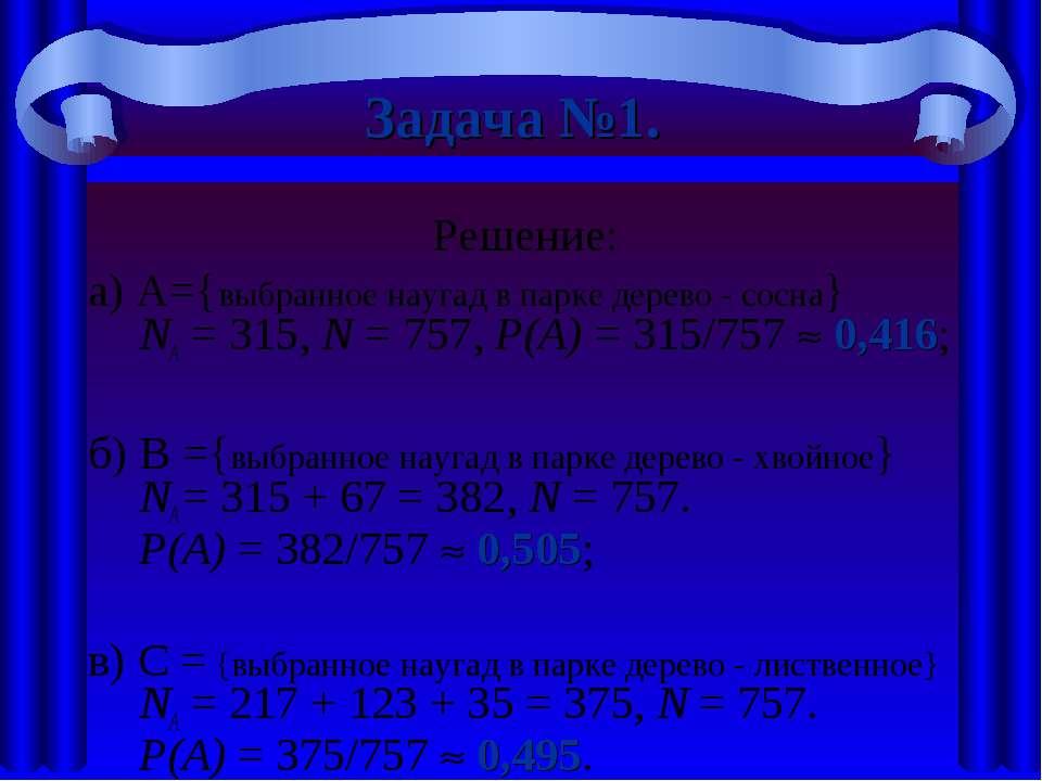 Задача №1. Решение: а) A={выбранное наугад в парке дерево - сосна} NА = 315, ...