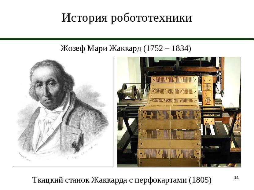 * История робототехники Жозеф Мари Жаккард (1752 – 1834) Ткацкий станок Жакка...