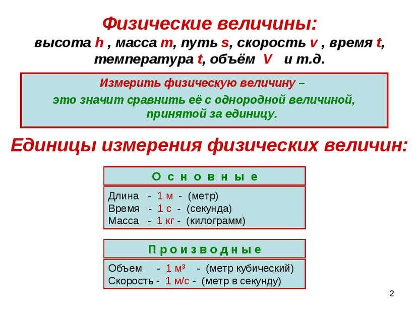 * Физические величины: высота h , масса m, путь s, скорость v , время t, темп...