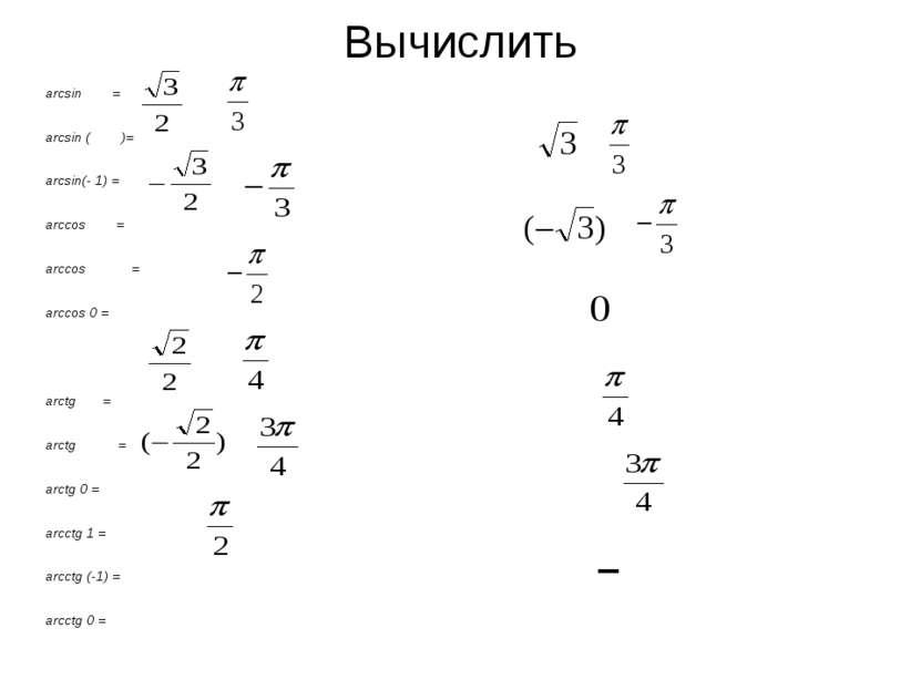 Вычислить arcsin = arcsin ( )= arcsin(- 1) = arccos = arccos = arccos 0 = arc...