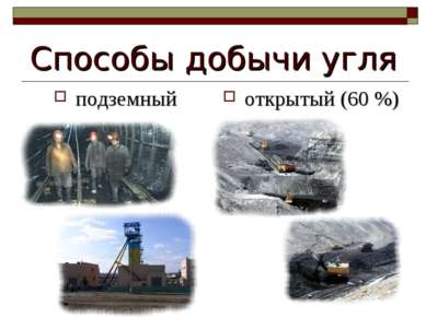 Способы добычи угля подземный открытый (60 %)
