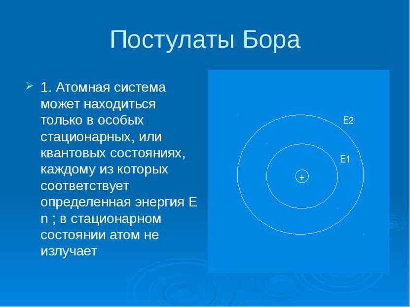 Постулаты Бора 1. Атомная система может находиться только в особых стационарн...
