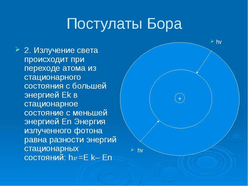 Постулаты Бора 2. Излучение света происходит при переходе атома из стационарн...