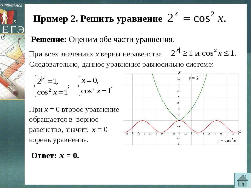 Пример 2. Решить уравнение Решение: Оценим обе части уравнения. Следовательно...