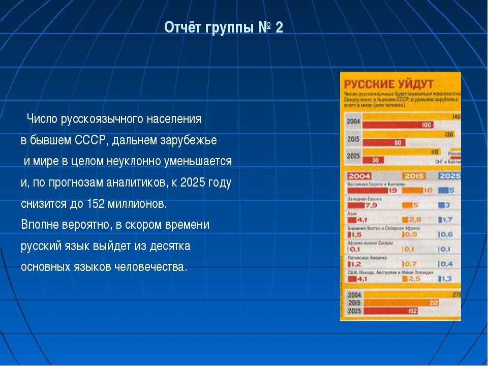 Число русскоязычного населения в бывшем СССР, дальнем зарубежье и мире в цело...