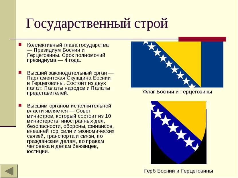 Государственный строй Коллективный глава государства — Президиум Боснии и Гер...