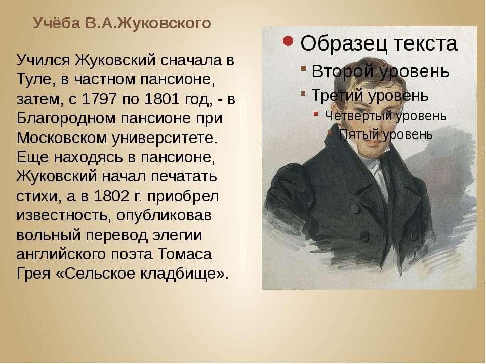 Учёба В.А.Жуковского Учился Жуковский сначала в Туле, в частном пансионе, зат...