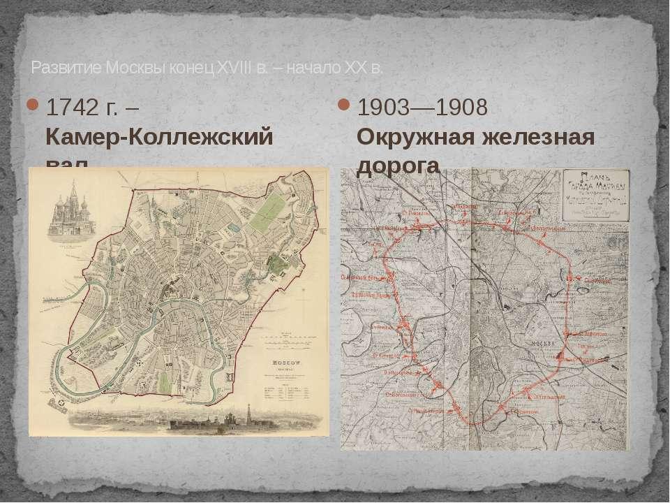1742 г. – Камер-Коллежский вал. Развитие Москвы конец XVIII в. – начало XX в....