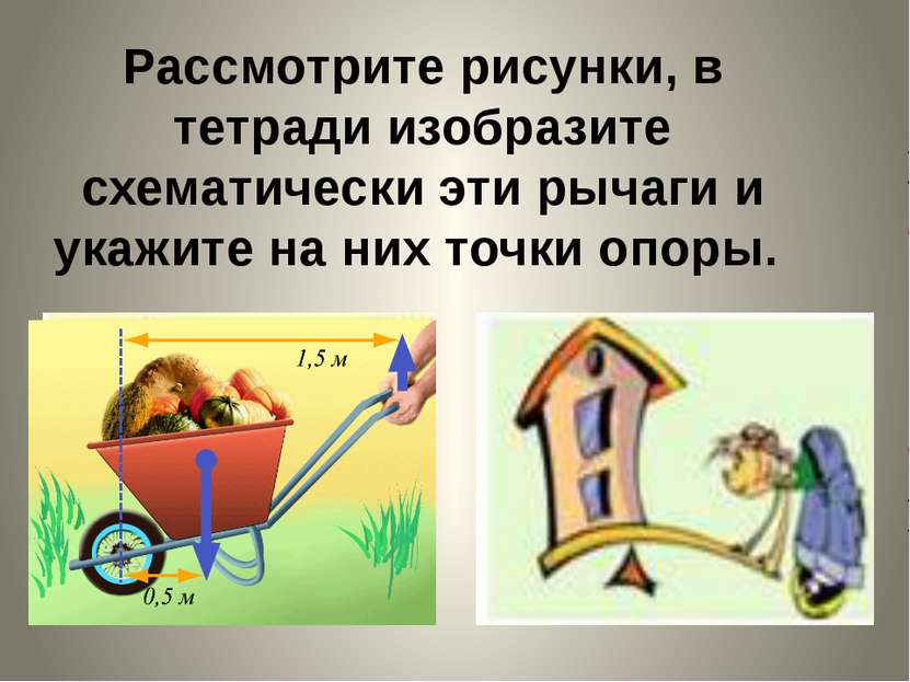 Рассмотрите рисунки, в тетради изобразите схематически эти рычаги и укажите н...