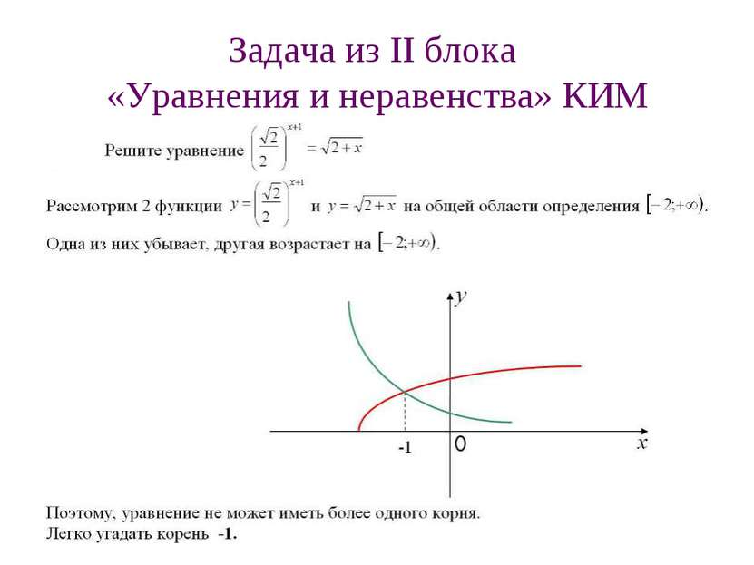 Задача из II блока «Уравнения и неравенства» КИМ