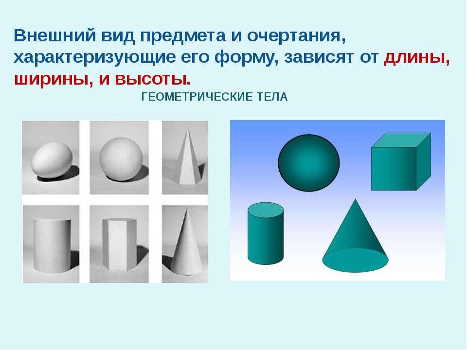 ГЕОМЕТРИЧЕСКИЕ ТЕЛА Внешний вид предмета и очертания, характеризующие его фор...