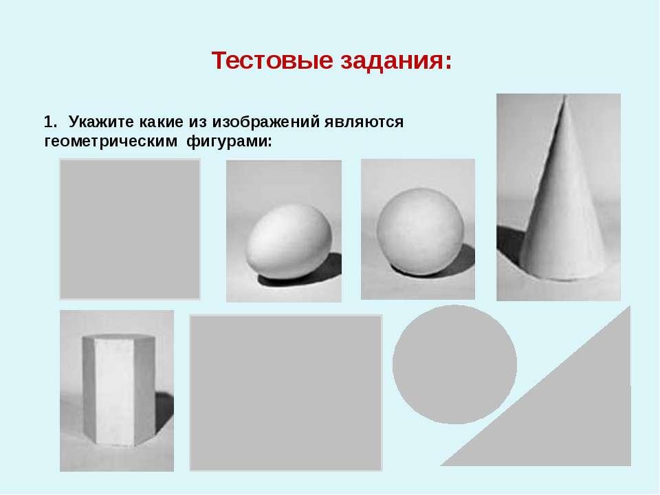 Тестовые задания: Укажите какие из изображений являются геометрическим фигурами: