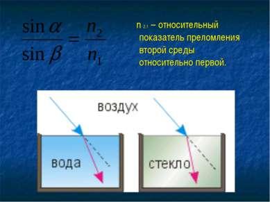 n 2,1 – относительный показатель преломления второй среды относительно первой.