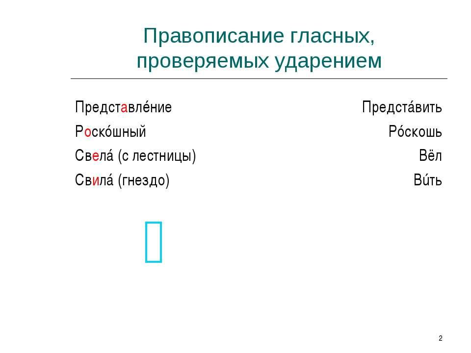 * Правописание гласных, проверяемых ударением Представлéние Роскóшный Свелá (...