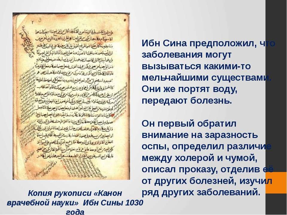 Копия рукописи «Канон врачебной науки» Ибн Сины 1030 года Ибн Сина предположи...