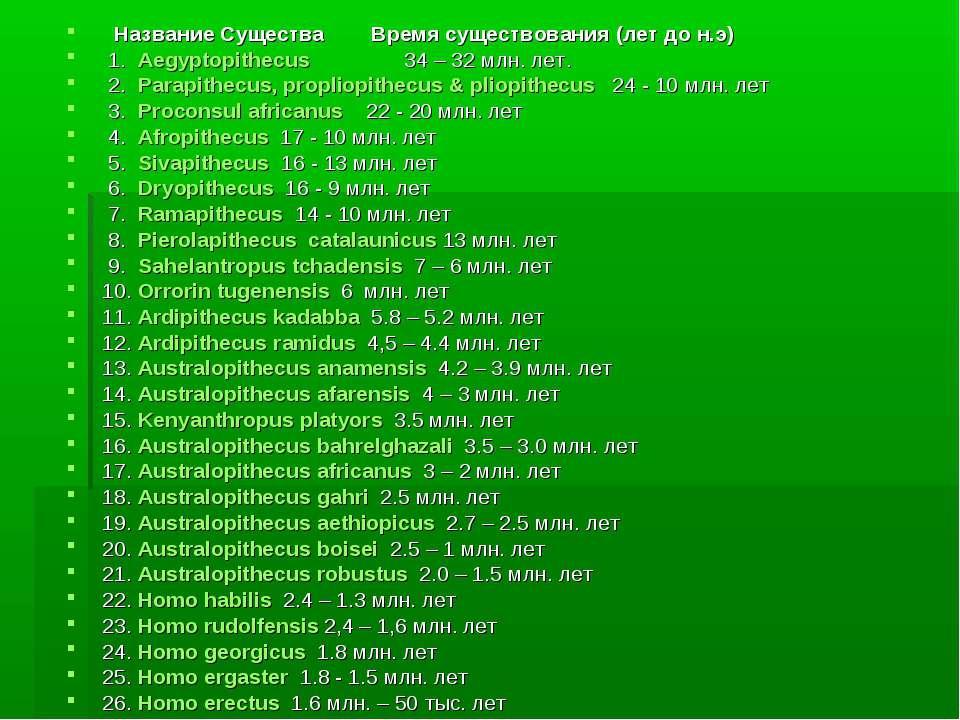 Название Существа Время существования (лет до н.э) 1. Aegyptopithecus 34 – ...