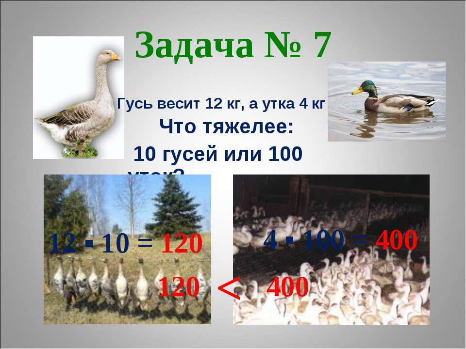 Задача № 7 Что тяжелее: 10 гусей или 100 уток? Гусь весит 12 кг, а утка 4 кг ...