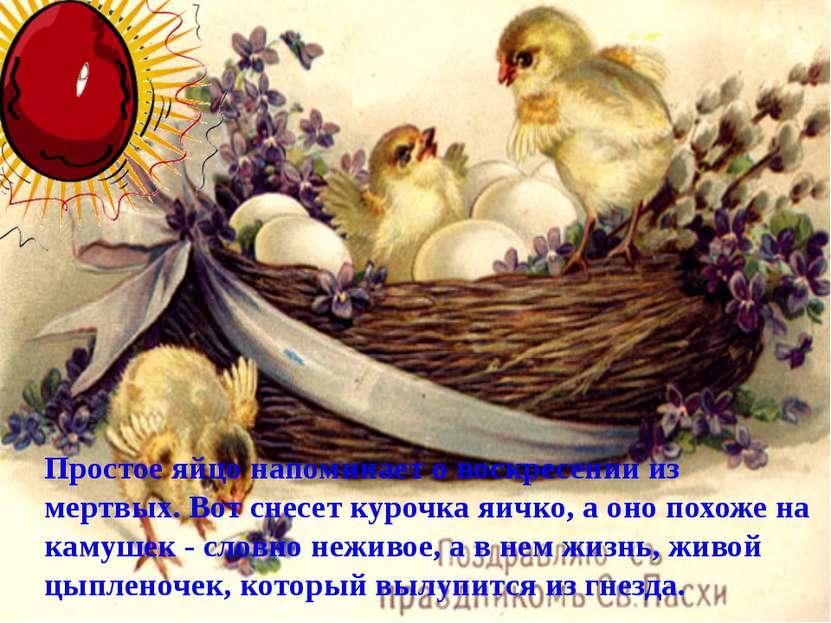 Простое яйцо напоминает о воскресении из мертвых. Вот снесет курочка яичко, а...