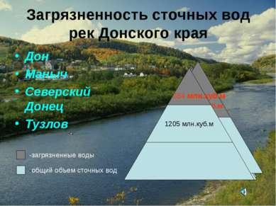 Загрязненность сточных вод рек Донского края Дон Маныч Северский Донец Тузлов...