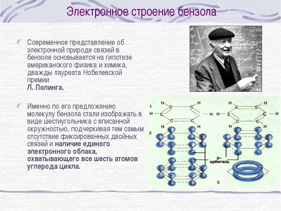 Электронное строение бензола Современное представление об электронной природе...