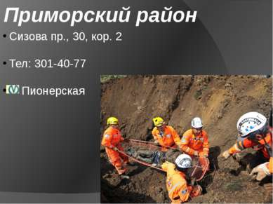 Приморский район Сизова пр., 30, кор. 2 Тел: 301-40-77 Пионерская