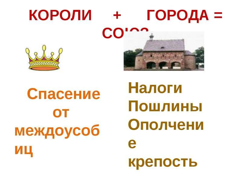 КОРОЛИ + ГОРОДА = СОЮЗ Спасение от междоусобиц Налоги Пошлины Ополчение крепость