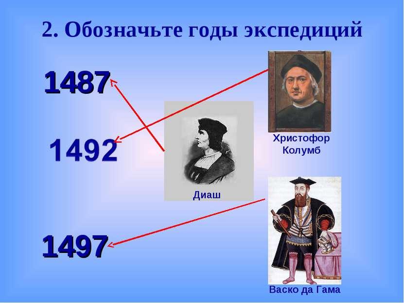 2. Обозначьте годы экспедиций 1487 1497 Васко да Гама Христофор Колумб Диаш