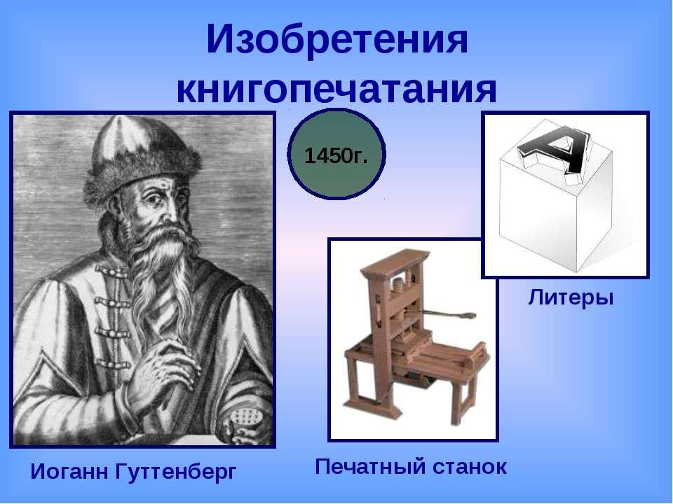 Изобретения книгопечатания Иоганн Гуттенберг 1450г. Литеры Печатный станок