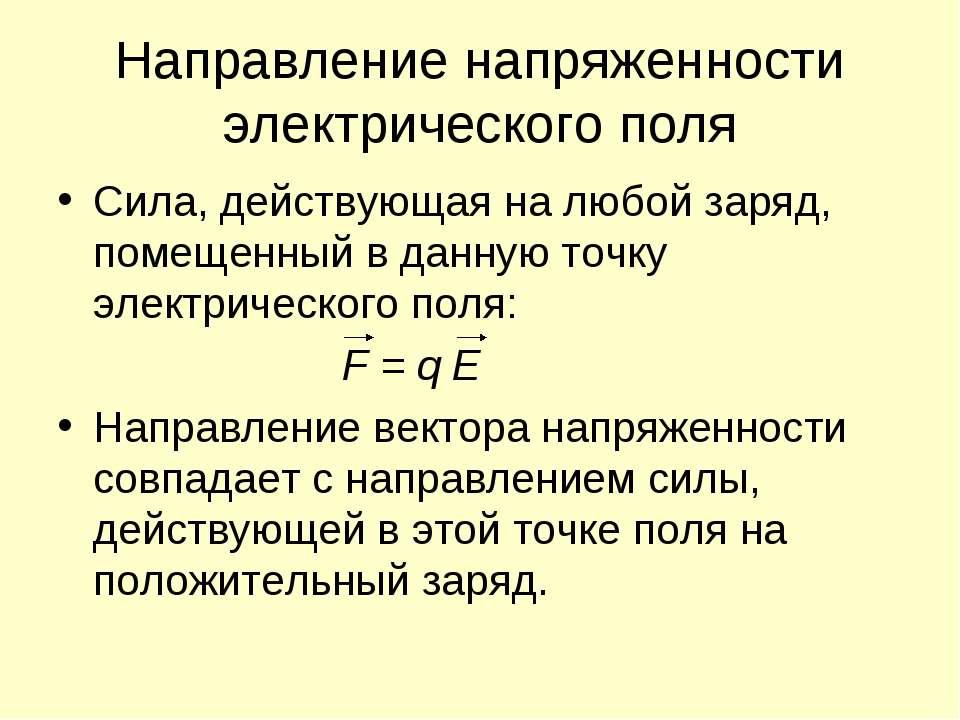 Направление напряженности электрического поля Сила, действующая на любой заря...