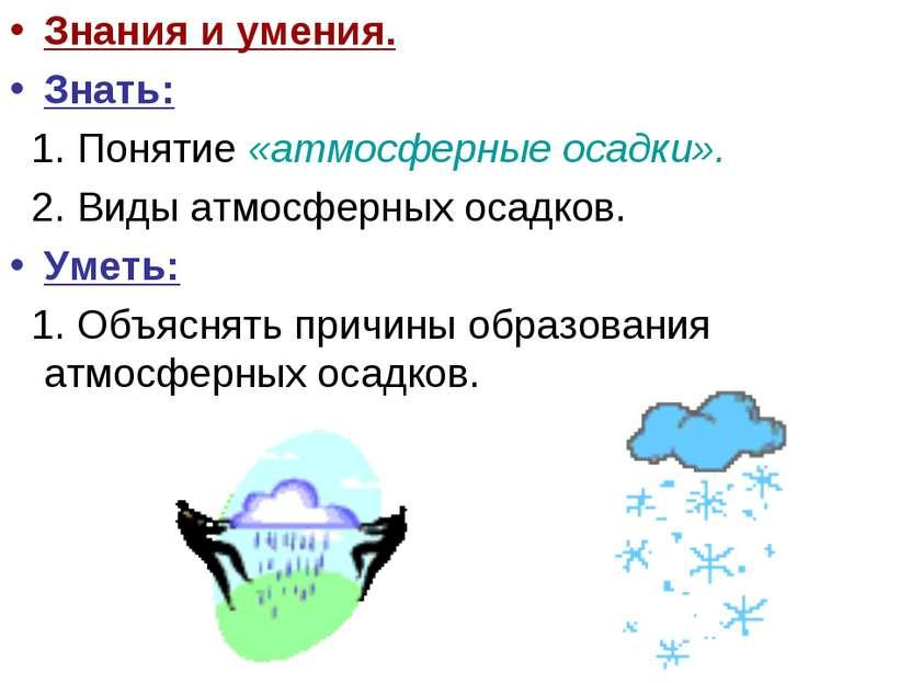 Знания и умения. Знать: 1. Понятие «атмосферные осадки». 2. Виды атмосферных ...