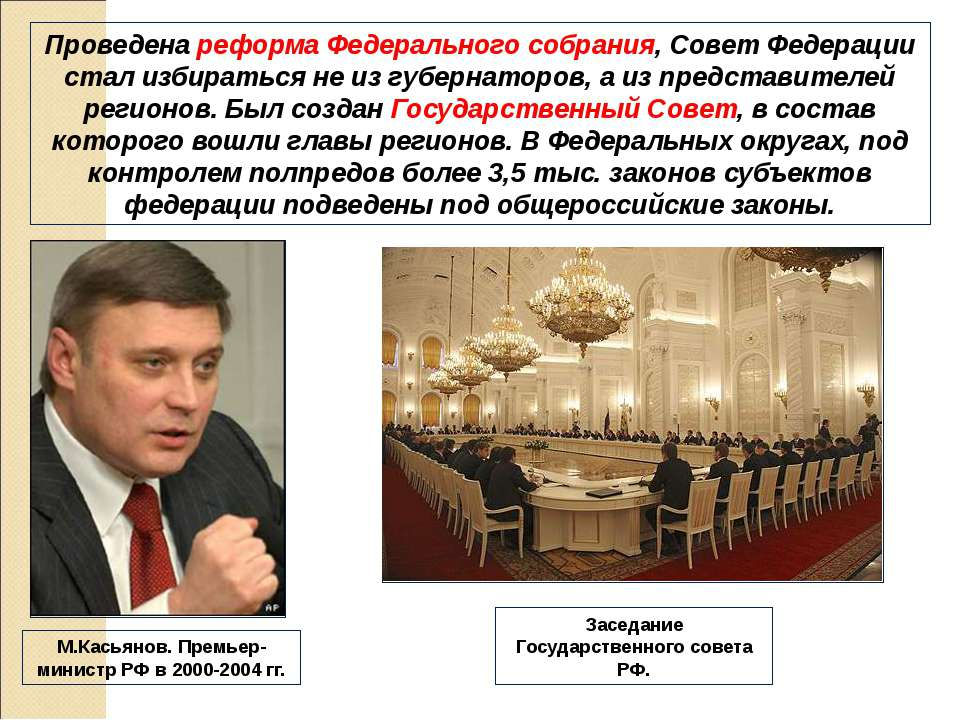 Проведена реформа Федерального собрания, Совет Федерации стал избираться не и...