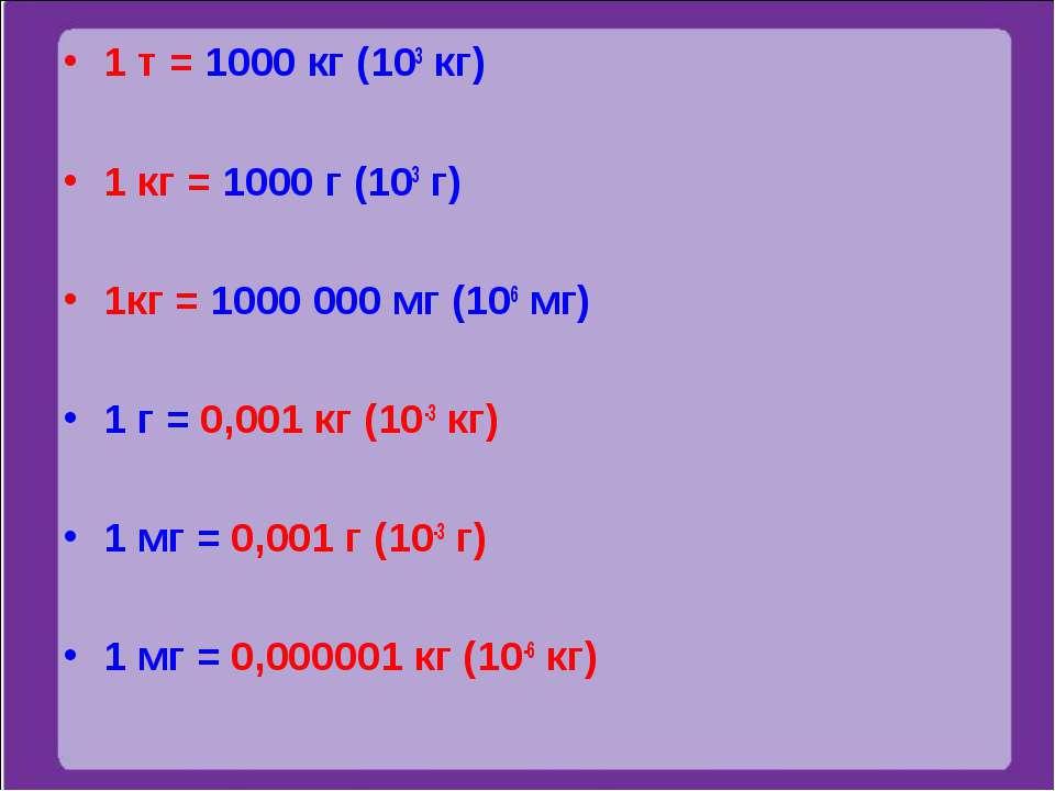1 т = 1000 кг (103 кг) 1 кг = 1000 г (103 г) 1кг = 1000 000 мг (106 мг) 1 г =...