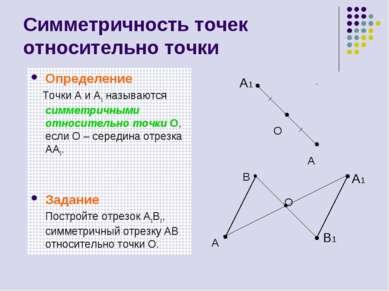 Симметричность точек относительно точки Определение Точки A и A1 называются с...