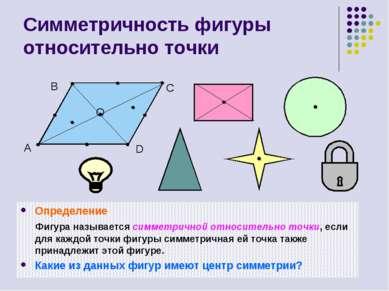 Симметричность фигуры относительно точки Определение Фигура называется симмет...