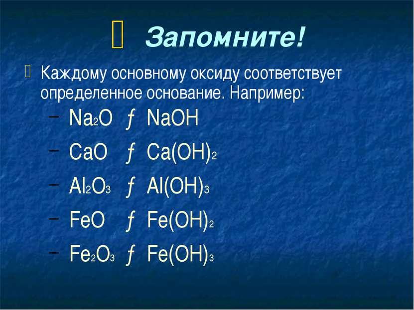 Запомните! Каждому основному оксиду соответствует определенное основание. Нап...