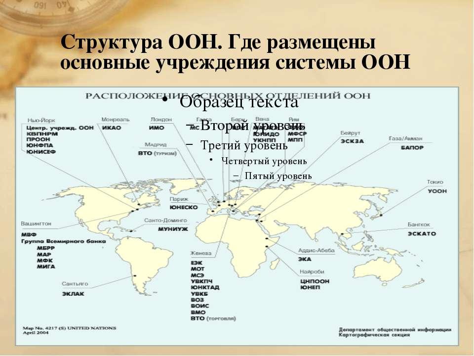 Структура ООН. Где размещены основные учреждения системы ООН