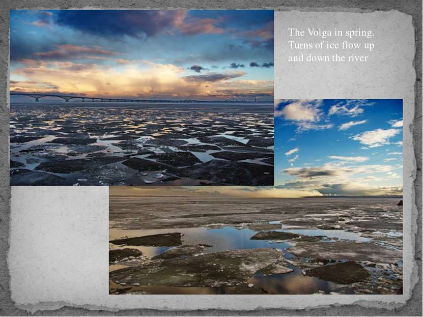 The Volga in spring. Turns of ice flow up and down the river