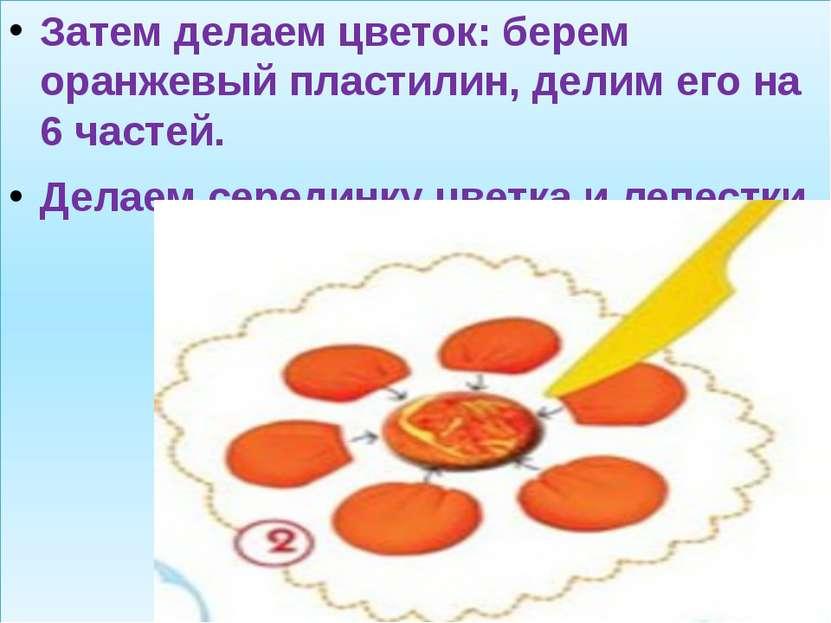 Затем делаем цветок: берем оранжевый пластилин, делим его на 6 частей. Делаем...
