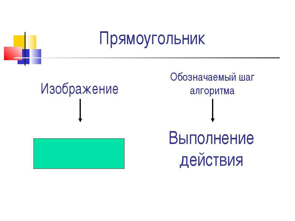 Прямоугольник Выполнение действия Изображение Обозначаемый шаг алгоритма