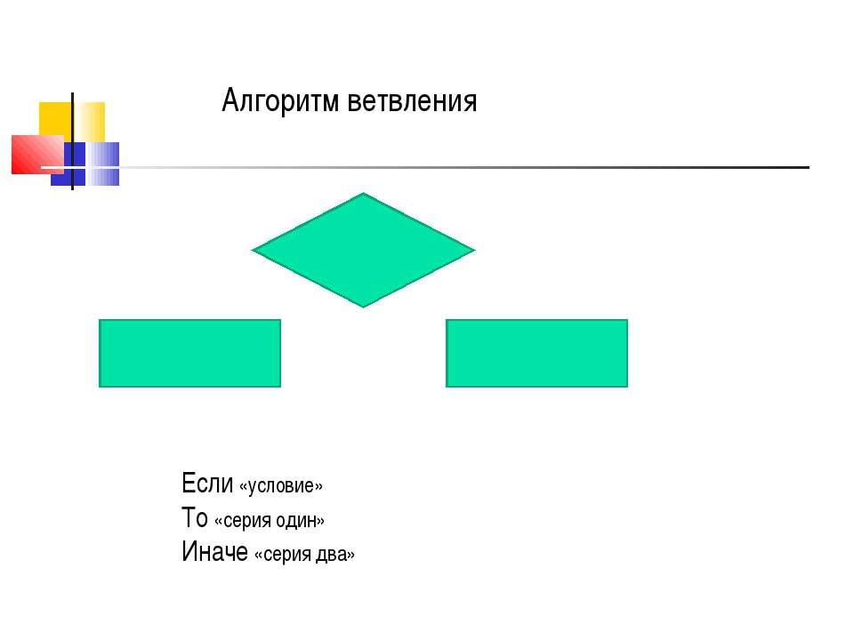 Если «условие» То «серия один» Иначе «серия два» Алгоритм ветвления