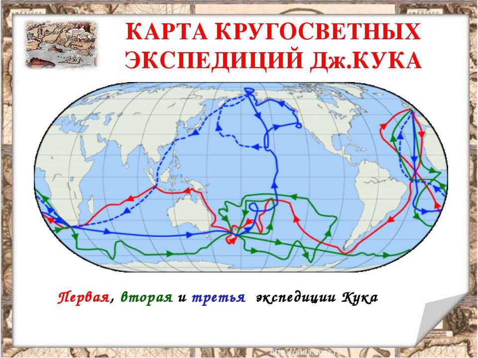 КАРТА КРУГОСВЕТНЫХ ЭКСПЕДИЦИЙ Дж.КУКА Первая, вторая и третья экспедиции Кука