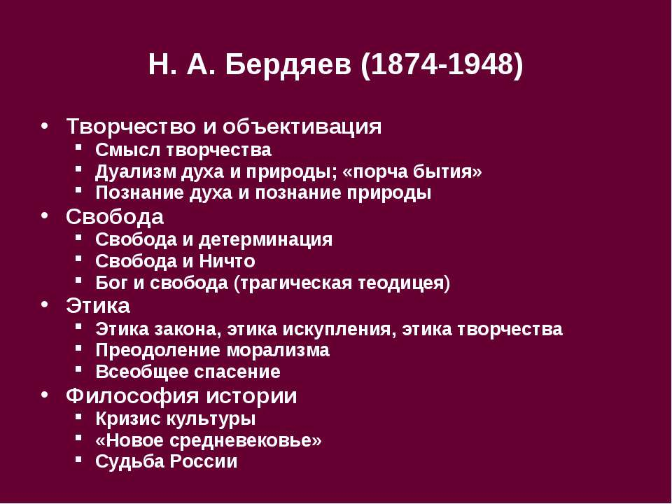 Н.А.Бердяев (1874-1948) Творчество и объективация Смысл творчества Дуализм ...