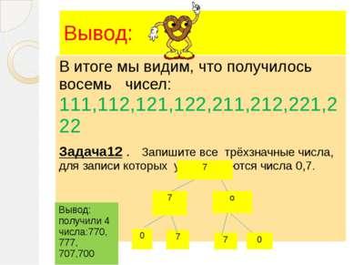 Вывод: В итоге мы видим, что получилось восемь чисел: 111,112,121,122,211,212...
