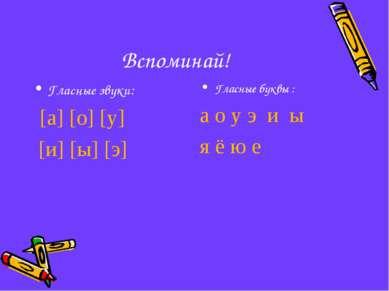 Вспоминай! Гласные звуки: [а] [о] [у] [и] [ы] [э] Гласные буквы : а о у э и ы...