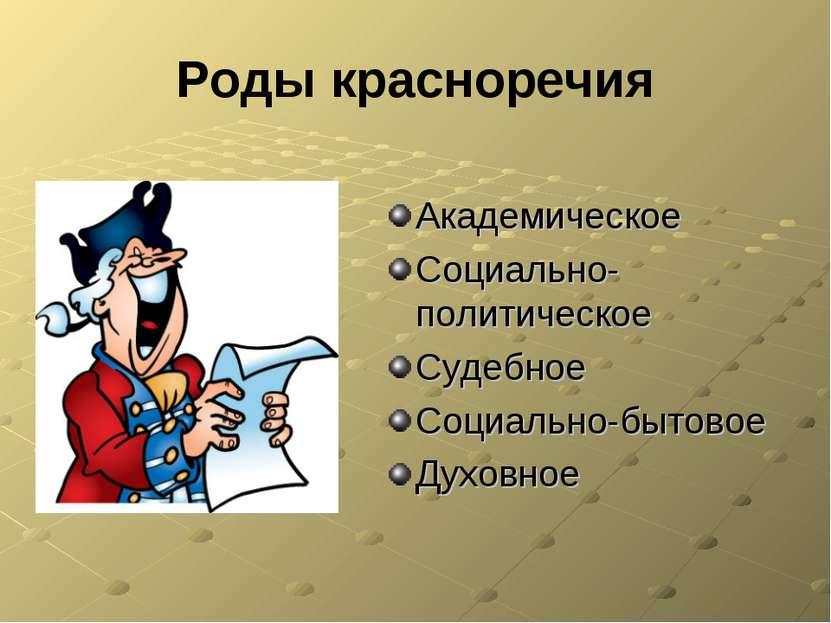 Роды красноречия Академическое Социально-политическое Судебное Социально-быто...