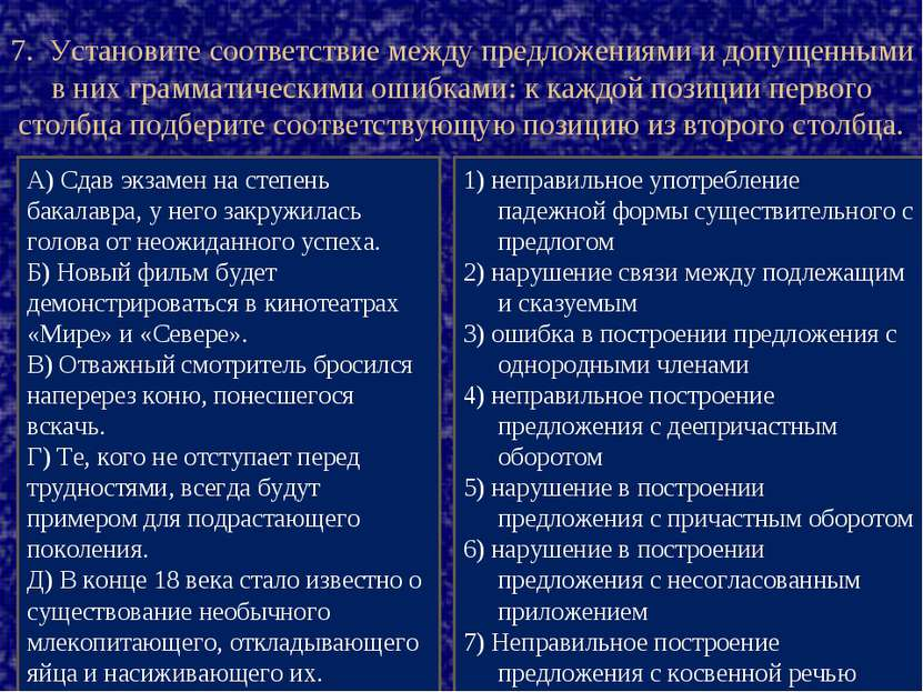 7. Установите соответствие между предложениями и допущенными в них грамматиче...