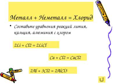 Металл + Неметалл = Хлорид Составьте уравнения реакций лития, кальция, алюмин...